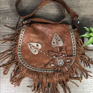 Boho Western Leather Saddle Crossbody Junior Drake